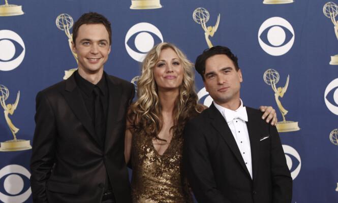 TV-STJERNER: F.v. Jim Parsons, Kaley Cuoco og Johnny Galecki. Foto: NTB Scanpix