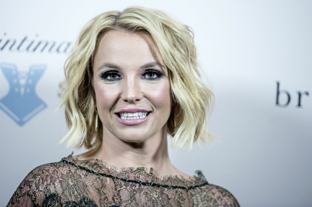 <strong>2014:</strong> Britney Spears smilte bredt da hun lanserte sitt eget undertøysmerke i 2014. Her i Danmark.  Foto: Epa