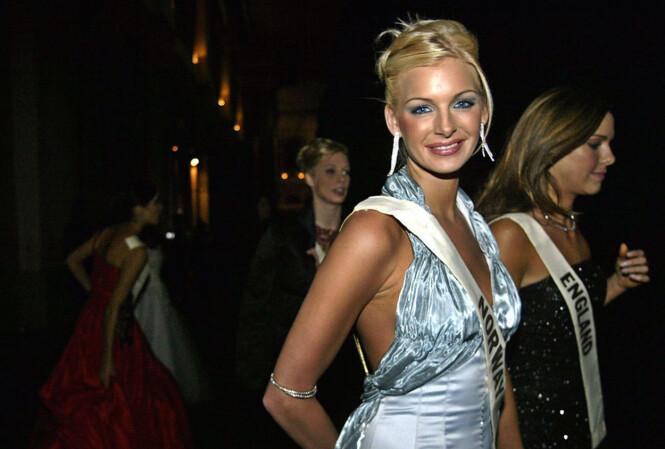 MISS WORLD: Kathrine Sørland under Miss World-finalen i 2002. Foto: NTB Scanpix