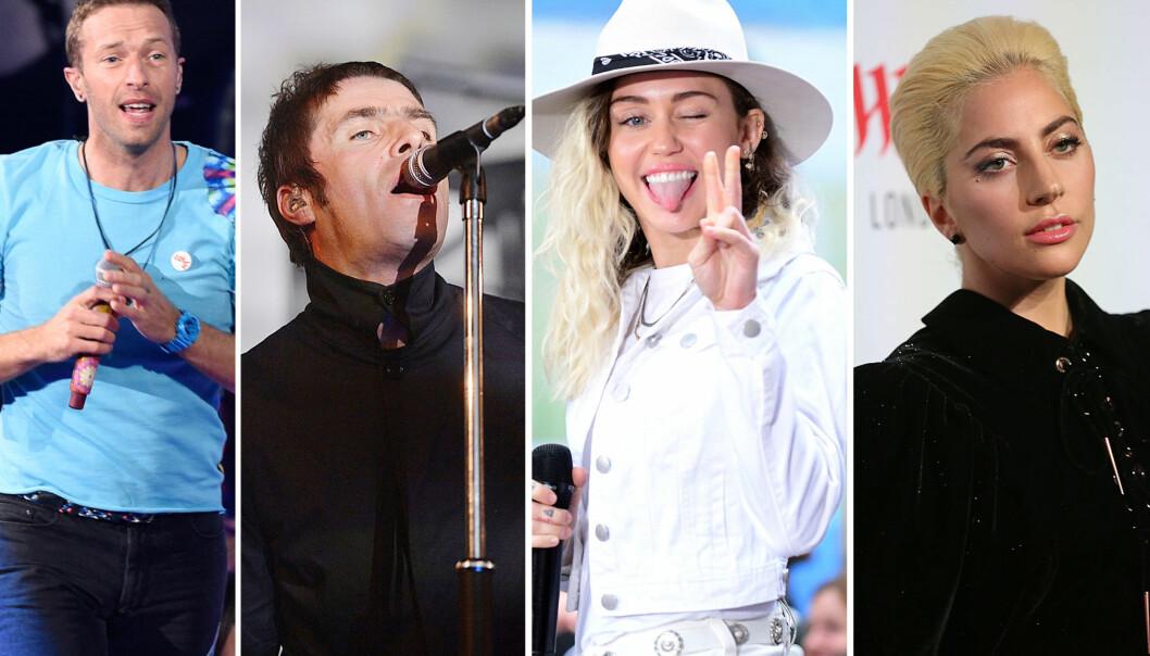 <strong>LIKER IKKE EGNE SANGER:</strong> Chris Martin, Liam Gallagher, Miley Cyrus og Lady Gaga. Foto: NTB Scanpix