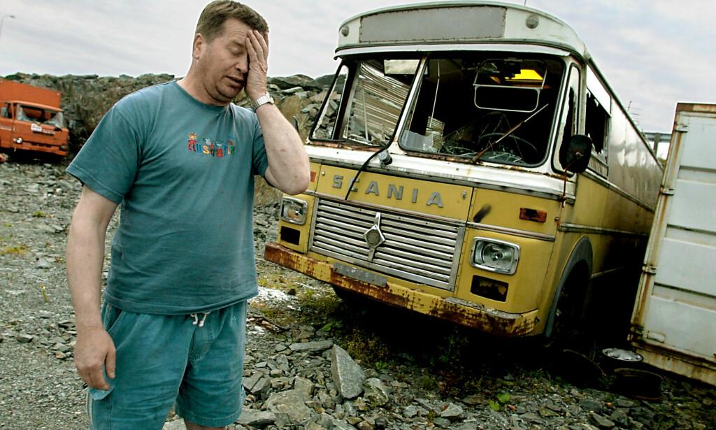 MARERITT: På kort tid ble Finn Kristian Halvorsens liv snudd på hodet. I slutten av juli 2002 ble en buss han eide fullstendig ramponert og i august ble hans lager utsatt for innbrudd og Halvorsen frastjålet verktøy til en verdi av rundt 500 000 kroner. Foto: Alf-Robert Sommerbakk / Haugesunds Avis