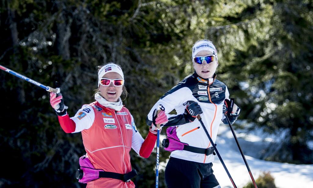 NY SELVTILLIT: De nye GPS-testene har gitt Heidi Weng, her sammen med Astrid Uhrenholdt Jacobsen på Sjusjøen, mer tro på seg selv. Foto: Thomas Rasmus Skaug / Dagbladet