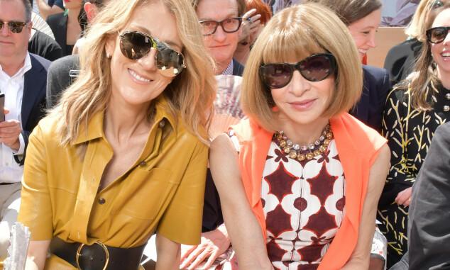 MOTE-ELITE: Céline Dion på første rad på Dior-visningen sammen med Vogues sjefredaktør Anna Wintour. Foto: Swan Gallet/WWD/REX/Shutterstock/ NTB scanpix