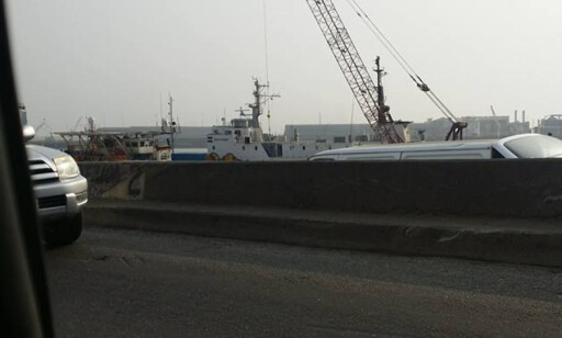 NIGERIA-BÅT: Marius Johansen fant igjen en av Nigeria-båtene, som han selv har tjenestegjort på en gang i tiden, i Lagos i Nigaria. Foto: Marius Johansen