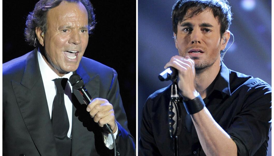 GIKK I FARENS FOTSPOR: Enrique Iglesias er sønn av den spanske sangeren Julio Iglesias. Enrique har fortsatt til gode å introdusere faren sin for sin vakre kjæreste. Foto: AP / Manu Fernandez (venstre) og Chris Pizzello / Invision / AP (høyre)