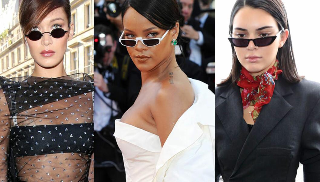 TRENDY: Små solbriller er tilbake i motebildet igjen. Det beviser stjerner som Bella Hadid, Rihanna og Kendall Jenner. Foto: Shutterstock, NTB scanpix