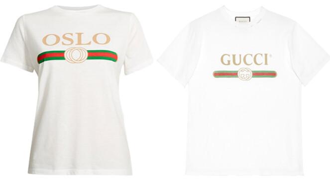 OSLO VS. GUCCI: 4500 kroner skiller disse t-skjortene. Hvem er din favoritt? Foto: Produsentene