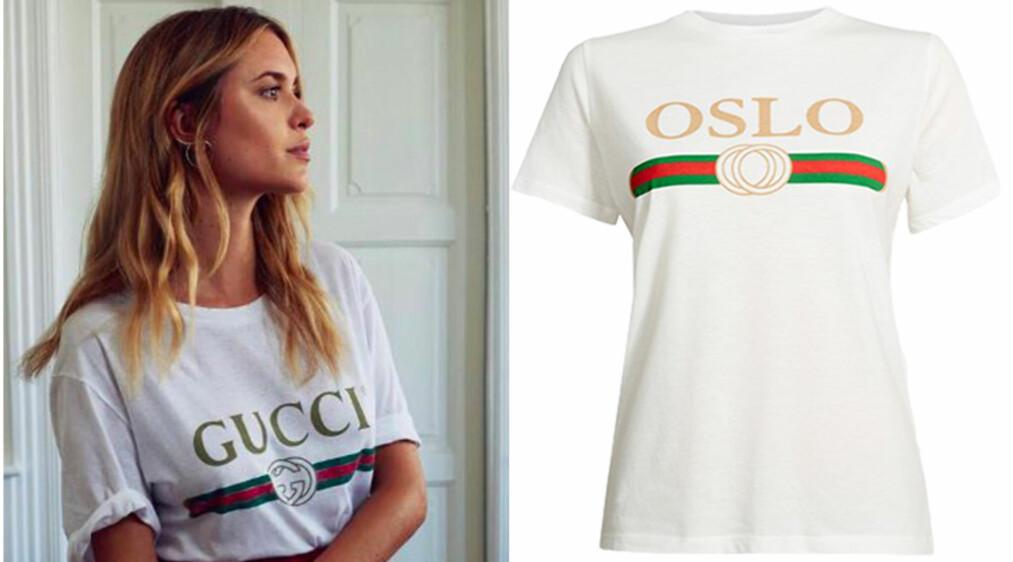 GLEM GUCCI: ... nå er dette den nye it-tskjorten! Foto: Skjermdump Instagram Pernille Teisbæk / Produsenten