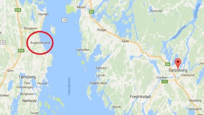 <strong>STOR AVSTAND:</strong> Det skal godt gjøres å ta feil av Sarpsborg og Åsgårdstrand. Grafikk: Skjermdump fra Google Maps