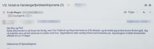 NOTATER: I en e-post til Sandberg og Angelvik sendte lobbyisten et uferdig dokument med en rekke påstander om norsk lakseforskning. Dagbladet har sladdet enkelte opplysninger. Foto: Øistein Norum Monsen