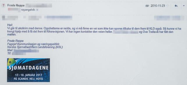 «REDDE»: I denne e-posten ber lobbyisten Reppe statssekretær Angelvik og minister Sandberg om hjelp til å få kontakt med andre sentrale personer i og utenfor den offentlige forvaltningen. Dagbladet har sladdet enkelte opplysninger. Foto: Øistein Norum Monsen.