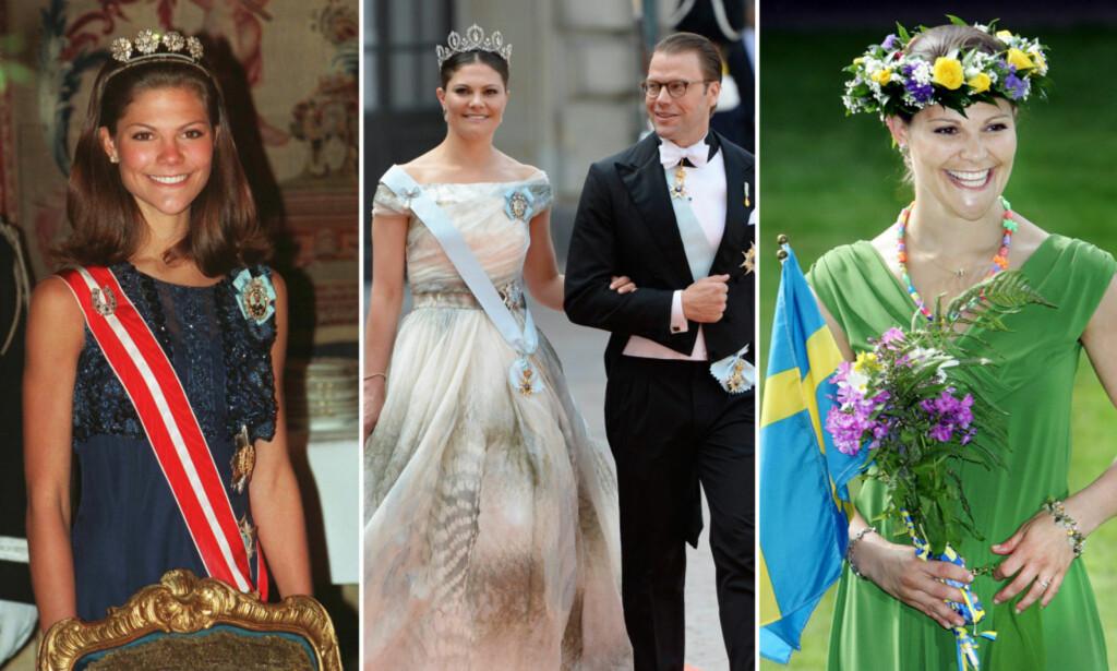 STOR FORANDRING: Fredag 14. juli markerer 40-årsdagen til kronprinsesse Victoria av Sverige. Her er hun avbildet som 20-åring (t.v), på 30-årsdagen (t.h.) og etter at hun giftet seg med prins Daniel (midten). Foto: NTB scanpix