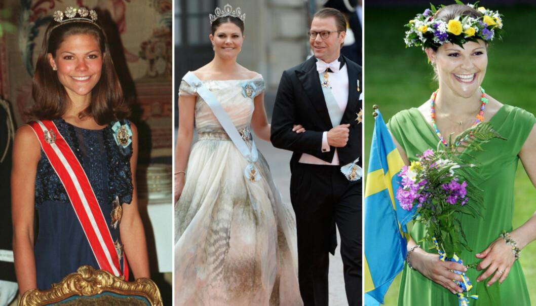 <strong>STOR FORANDRING:</strong> Fredag 14. juli markerer 40-årsdagen til kronprinsesse Victoria av Sverige. Her er hun avbildet som 20-åring (t.v), på 30-årsdagen (t.h.) og etter at hun giftet seg med prins Daniel (midten). Foto: NTB scanpix