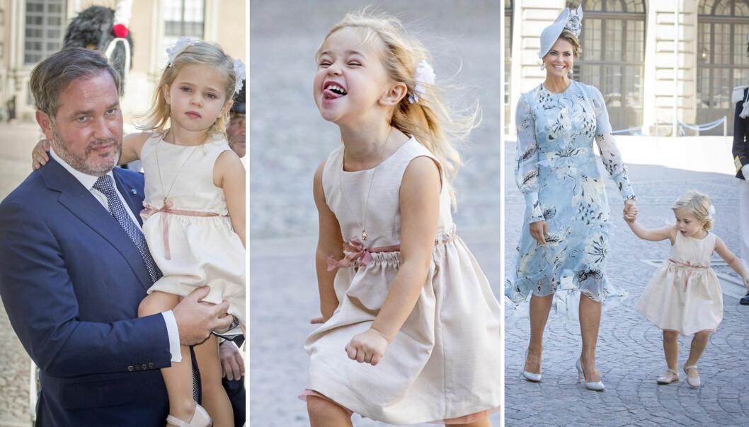 LILLE LEONORE: Prinsesse Madeleines datter danset og geipet til fotografene. Foto: NTB Scanpix
