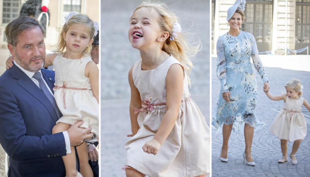 <strong>LILLE LEONORE:</strong> Prinsesse Madeleines datter danset og geipet til fotografene. Foto: NTB Scanpix