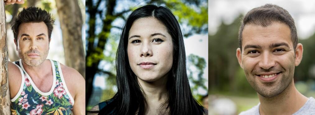 HETSES: Jan Thomas, MDG-politiker Lan Marie Nguyen Berg og AUF-leder Mani Hussaini er blant flere offentlige personer i Norge som må takle hets og sjikane på nett.