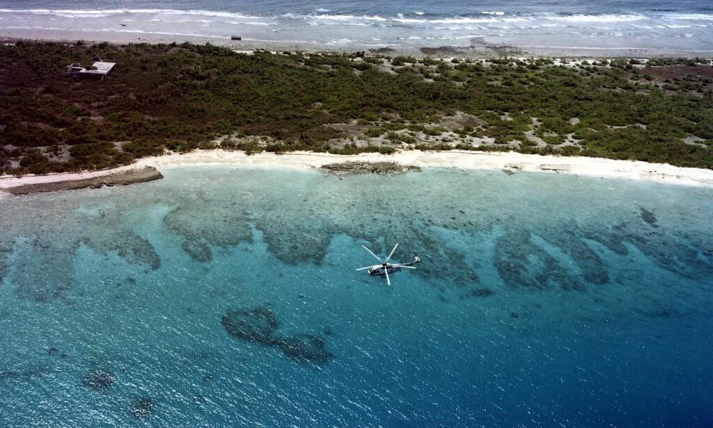 STILLEHAVET: Langt ute i Stillehavet, på øya Bikiniatollen, utførte USA mange atomprøvesprengninger. Personene som bodde på øya måtte flykte. Plante-og dyrelivet døde, men forskere anslår at bare etter ti år kan korallene ha begynt å vokse. Foto: Wikipedia Commons