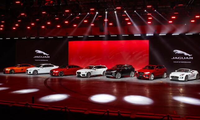 STORFAMILIE: Med E-Pace på plass vil Jaguar-familien ha vokst seg større enn noen gang før. Foto: Jaguar