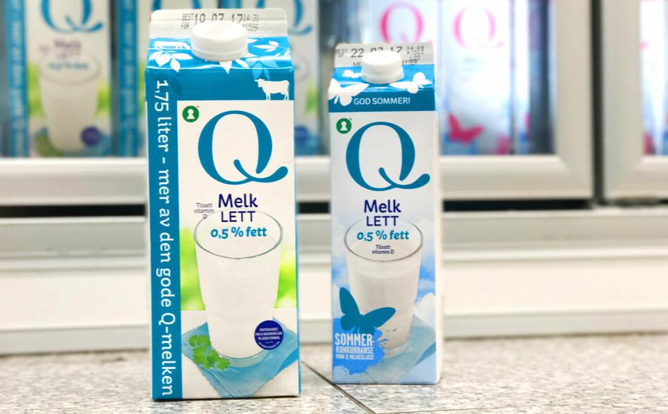 DEN LILLE ER BILLIGST: Hos Kiwi er faktisk literprisen på den store melkekartongen høyere enn hos den lille. Foto: Hanna Sikkeland.