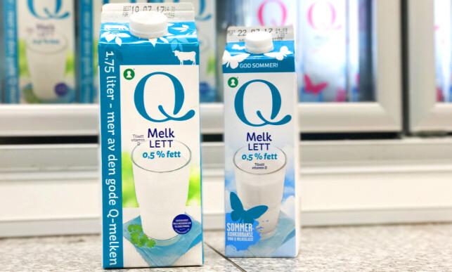 KIWI: Da vi sjekket prisene hos Kiwi kostet 1 liter melk fra Q-meieriene 13,40, mens 1,75 liter kostet 27,70. Det vil si 15,83 per liter.