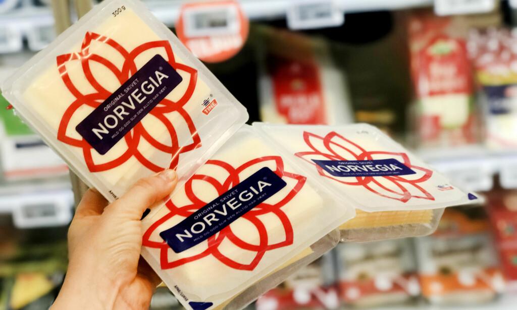 MENY: Hos Meny bør du faktisk heller kjøpe en pakke med Norvegia, enn å kjøpe to-pakningen. En pakke har en kilopris på 138,33, mens to-pakningen har en kilopris på 154,55. Foto: Hanna Sikkeland.