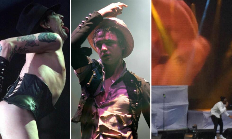 SJOKKERTE: Både Marilyn Manson, Pete Doherty og Arif har på ulikt vis klart å skape store overskrifter, etter at de opptrådte på den norske festivalscenen. Trioen er imidlertid ikke alene. Foto: NTB Scanpix / Stian Haraldsen
