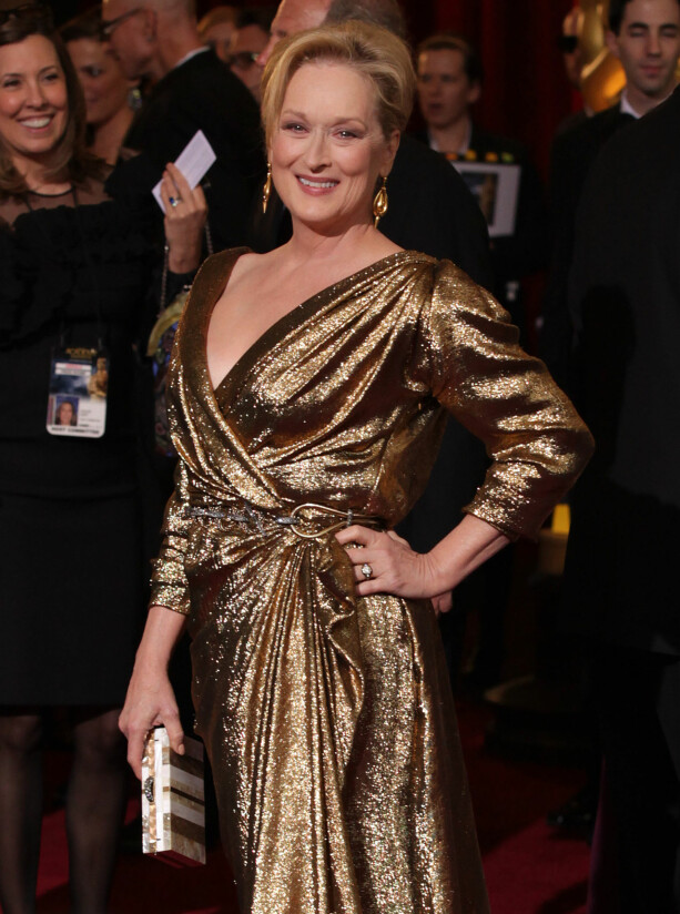 I LEVENDE LIVE: Meryl Streep på den røde løperen under Oscar-utdelinga i 2012. Foto: NTB scanpix