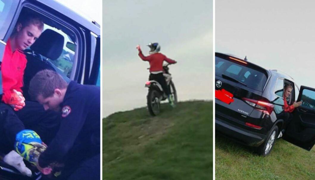 <strong>KJØRTE MOTOCROSS I STAVANGER:</strong> Justin Bieber bestemte seg for å kjøre motorcross før dagens konsert i Stavanger. Foto: Privat