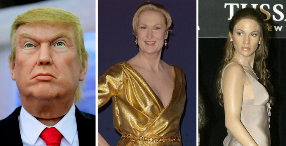 VOKSFIGURER: Flere store stjerner har fått egne voksfigurer. Donald Trump, Meryl Streep og Jennifer Lopez er noen av verdens største stjerner som har har fått egne voksdukker. Foto: NTB Scanpix
