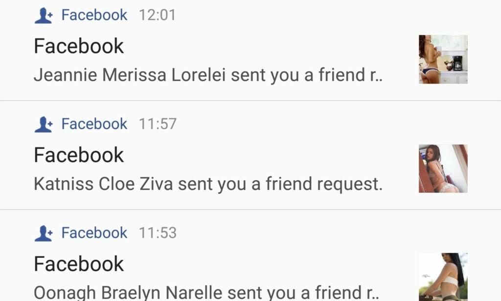 FALSKE PROFILER: Flere opplever å bli nedrent av venneforespørsler fra falske profiler med lettkledde damer. Foto: Skjermdump / Facebook