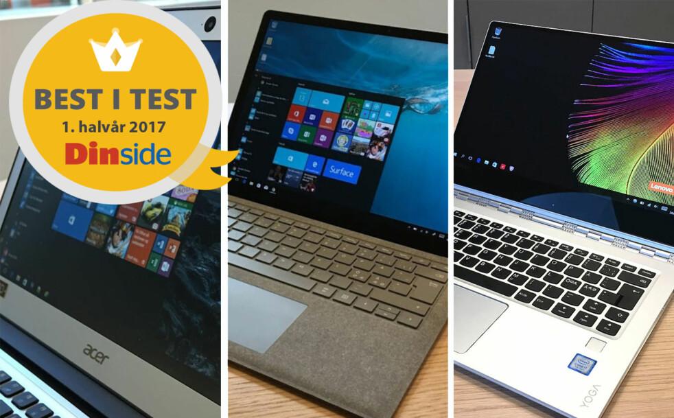 <strong>TRE VINNERE:</strong> Dinside har plukket ut tre PC-modeller som alle får Best i test-stempel. Illustrasjon: Bjørn Eirik Loftås