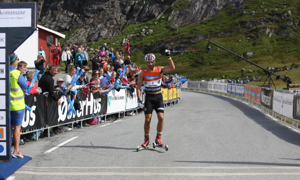 FØRST OPP: Hans Christer Holund var først opp de 7,5 kilometerne i Lysebotn Opp. Foto: Christian Roth Christensen / Dagbladet