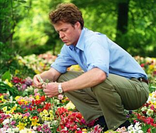 LEGGER NED BLOMSTER: Charles Spencer legger ned blomster på øya der storesøsteren er begravd. Foto: Pa Photos / NTB Scanpix