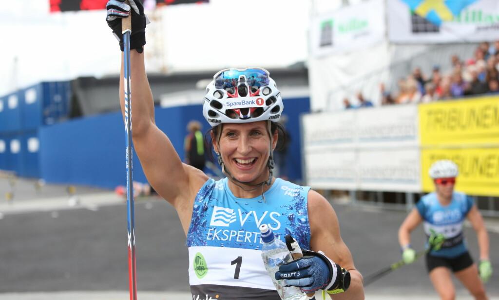 VANT: Marit Bjørgen var sterkest på 10 kilometer fellesstart under Blinkfestivalen. Foto: Christian Roth Christensen/Dagbladet