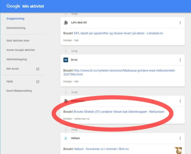 8733d7d51 Min aktivitet hos Google - Google har en liste over alt du har gjort ...