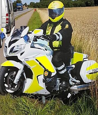 <strong>SKILT:</strong> Dette skiltet skal få bilistene til å senke farten. Foto: Sydsjælland og Lolland-Falsters Politi
