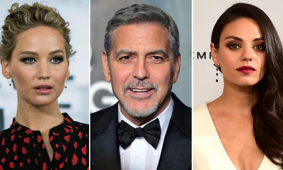 FØLGER IKKE STRØMMEN: Jennifer Lawrence, George Clooney og Mila Kunis er bare noen av stjernene som ikke vil være en del av sosiale medier. Foto: NTB scanpix