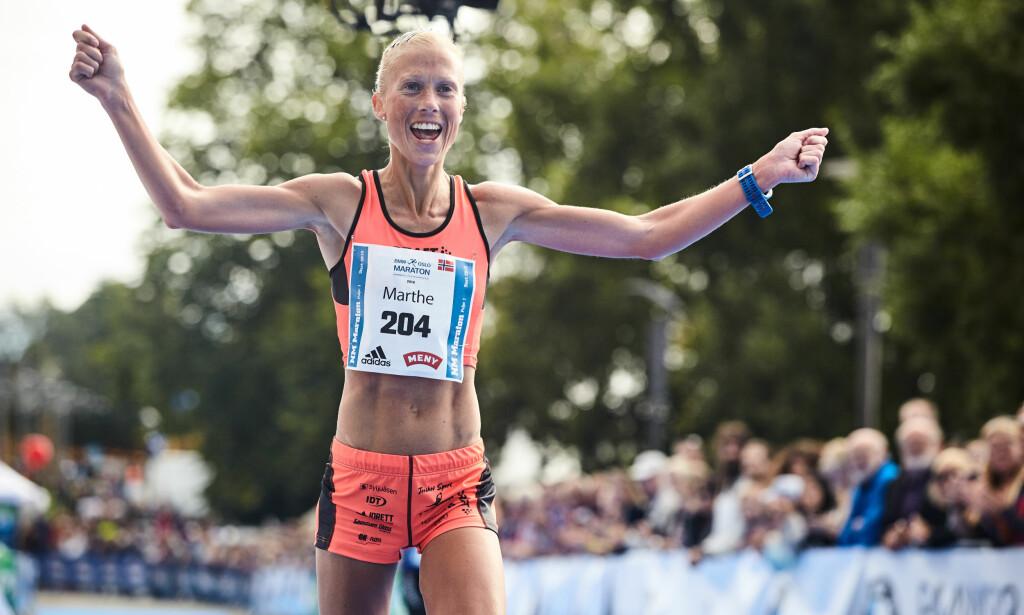 VANT: Marthe Katrine Myhre løp inn til seier i Oslo maraton. Foto: NTB Scanpix