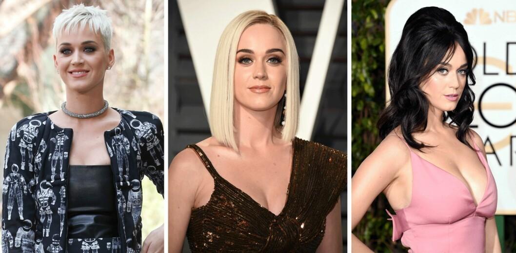 KATY PERRY: Også mye har skjedd på hårfronten hos Katy Perry det siste året. Foto: Scanpix