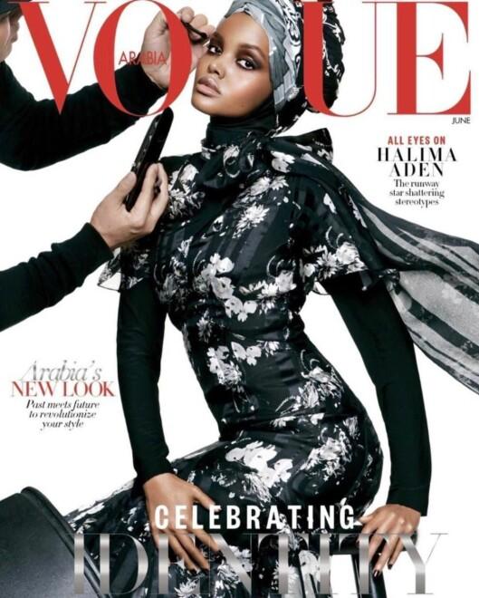COVER: Halima på forsiden av den arabiske utgaven av Vogue i juni. Foto: Vogue.com