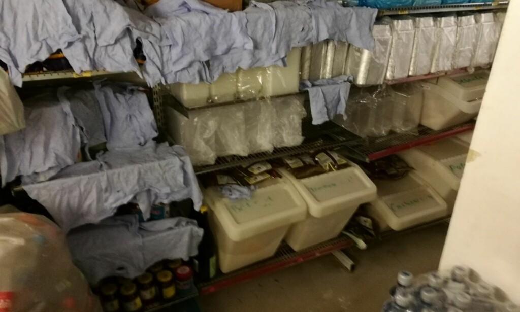 STORKONTROLL: Synet av kluter som ble tørket over emballasje på lagerrom var en av flere forhold Mattilsynet avdekket under sin kontroll av take-away-sushi i Oslo, Asker og Bærum. Foto: Mattilsynet