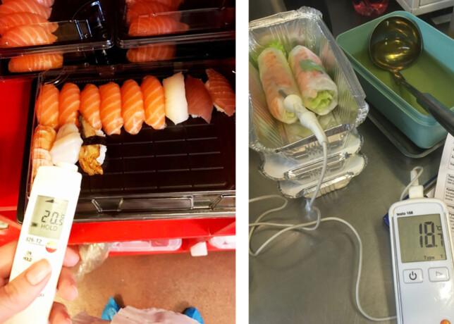 TEMPERATUR: Flere av virksomhetene lagret ferdig mat ved for høye temperaturer. Foto: Mattilsynet