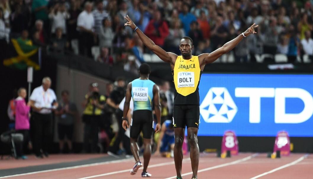 <strong>FIKK JUBEL:</strong> Usain Bolt, her før hundremeterløpet hans i London fredag kveld, fikk massiv jubel fra de mange londonerne på VM-tribunene. <br>Foto: AFP / Jewel Samad/ NTB Scanpix
