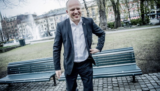 VEDTAK I RYGGEN: Sp med partileder Trygve Slagsvold Vedum i spissen har to ganger vedtatt å la olja i LoVeSe bli liggende. Foto: Thomas Rasmus Skaug / Dagblade