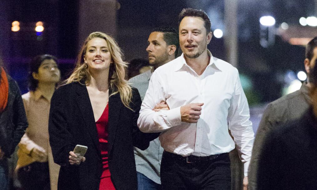 LYKKELIGERE TIDER: Amber Heard og Tesla-millionær Elon Musk har gått hver til sitt etter ett år som kjærester. Foto: NTB Scanpix