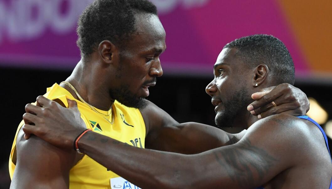 <strong>VANT:</strong> Justin Gatlin (t.h.) vant 100 meter-finalen. Her med Usain Bolt. Foto: NTB Scanpix