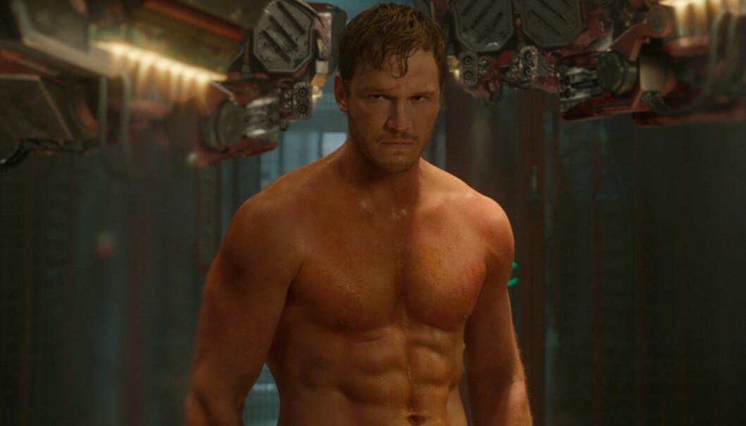 MUSKELBUNT: Chris Pratt i en annen kroppsfasong enn da han prøvespilte for «Moneyball». Her er han i filmen «Guardians of the Galaxy» Foto: Scanpix.