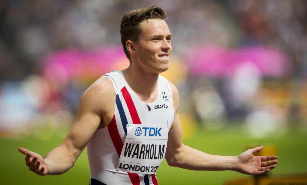 <strong>VIDERE:</strong> Karsten Warholm gikk videre til semifinalen i 400 meter hekk for menn. Foto: Heiko Junge / NTB Scanpix