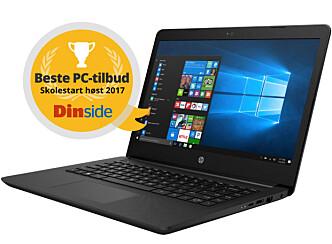 HP 14 fra Elkjøp er kåret til Beste PC-tilbud skolestart høst 2017, i klassen under 4.000 kroner. Illustrasjon: Dinside