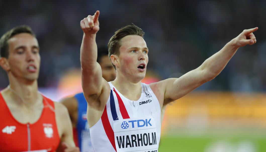 <strong>TIL FINALE:</strong> Karsten Warholm ble nummer to i sitt semifinale-heat og er klar for finale onsdag kveld. Foto: Heiko Junge / NTB scanpix